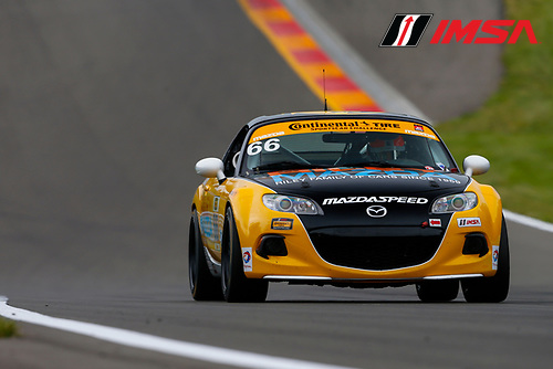 IMSA Continental Tire SportsCar Challenge<br /> Continental Tire 120 at The Glen<br /> Watkins Glen International, Watkins Glen, NY USA<br /> Thursday 29 June 2017<br /> 66, Mazda, Mazda MX-5, ST, Jameson Riley, AJ Riley<br /> World Copyright: Jake Galstad/LAT Images