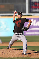Brett Ash (27) of the Bakersfield Blaze pitches during a game against the Rancho Cucamonga Quakes at LoanMart Field on June 1, 2015 in Rancho Cucamonga, California. Rancho Cucamonga defeated Bakersfield, 5-2. (Larry Goren/Four Seam Images)