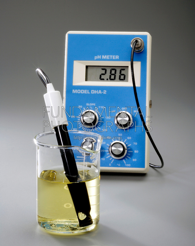 USING A pH METER WITH BROMOTHYMOL BLUE INDICATOR<br /> (2 of 3 - Variations Available).<br /> 0.10M Acetic Acid Has An Acidic pH of 2.86<br /> <br /> pH, used to express degree of acidity, is an index of hydrogen's chemical activity in a solution. At pH 2.86 the acid ( H3O+) is greater than the base (OH), the solution ,CH3COOH, is acidic & the indicator is yellow.