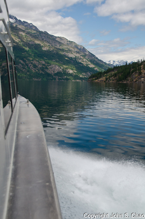 Starboard vertical view from ferry heading uplake on Lake Chelan to Stehekin, North Cascades National Park, Washington State