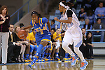 16 November 2014: UCLA's Jordin Canada (3) and North Carolina's Latifah Coleman (right). The University of North Carolina Tar Heels hosted the University of California Los Angeles Bruins at Carmichael Arena in Chapel Hill, North Carolina in a 2014-15 NCAA Division I Women's Basketball game. UNC won the game 84-68.