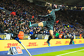 18th March 2018, King Power Stadium, Leicester, England; FA Cup football, quarter final, Leicester City versus Chelsea; Pedro of Chelsea celebrates by doing a kung-fu kick on the corner flag as he scores and makes it 1-2 in extra time