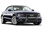 Low aggressive passenger side front three quarter view of a 2013 Audi A5 Convertible with the top up..