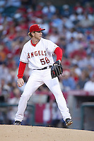 Dustin Moseley of the Los Angeles Angels during a 2007 MLB season game at Angel Stadium in Anaheim, California. (Larry Goren/Four Seam Images)