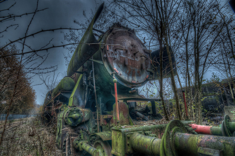 Old steam train grave yard.