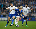 Tom Davies of Everton caught between Islam Slimani and Andy King of Leicester City during the English Premier League match at Goodison Park Stadium, Liverpool. Picture date: April 9th 2017. Pic credit should read: Simon Bellis/Sportimage