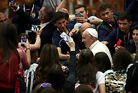 Pope Francis greets at the end of an audience with managers and members of the italian Football Federation (FIGC) and Gazzetta dello Sport newspaper, in Paul VI Hall at the Vatican, on May 24, 2019.<br /> UPDATE IMAGES PRESS/Isabella Bonotto<br /> <br /> STRICTLY ONLY FOR EDITORIAL USE