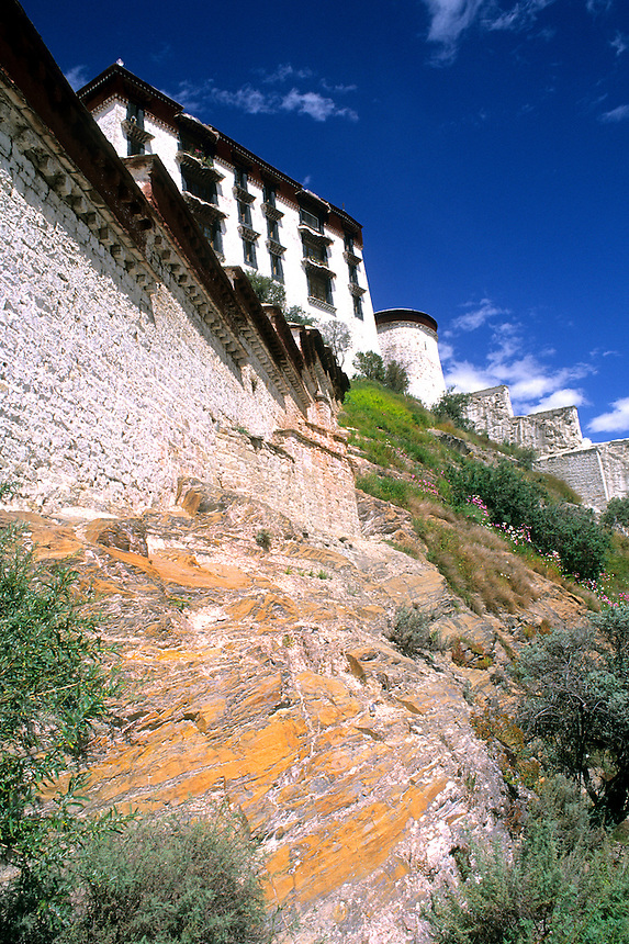 The steps of the Potala Palace the home of the Dalai Lama in capital city of Lhasa Tibet China