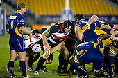 Jayden Murch prepares to pack down in a scrum against Keith Cameron.  Air New Zealand Cup rugby game played at Mt Smart Stadium, Auckland, between Counties Manukau Steelers & Otago on Thursday August 21st 2008..Otago won 22 - 8 after leading 12 - 8 at halftime.