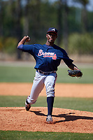 Atlanta Braves pitcher Albinson Volquez (50) during a Minor League Spring Training game against the Detroit Tigers on March 22, 2018 at the TigerTown Complex in Lakeland, Florida.  (Mike Janes/Four Seam Images)