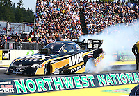Aug. 3, 2014; Kent, WA, USA; NHRA funny car driver Tony Pedregon during the Northwest Nationals at Pacific Raceways. Mandatory Credit: Mark J. Rebilas-