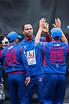 Marlon Samuels of Kowloon Cantons (C) celebrates with his team after taking the wicket during the Hong Kong T20 Blitz match between Kowloon Cantons and HKI United at Tin Kwong Road Recreation Ground on March 11, 2017 in Hong Kong, Hong Kong. Photo by Marcio Rodrigo Machado / Power sport Images
