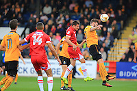 James Berrett of Grimsby Town scores a header during the Sky Bet League 2 match between Cambridge United and Grimsby Town at the R Costings Abbey Stadium, Cambridge, England on 15 October 2016. Photo by PRiME Media Images.