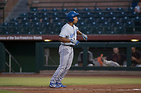 AZL Royals right fielder Kevon Jackson (16) questions a called strike three during an Arizona League game against the AZL Giants Black at Scottsdale Stadium on August 7, 2018 in Scottsdale, Arizona. The AZL Giants Black defeated the AZL Royals by a score of 2-1. (Zachary Lucy/Four Seam Images)