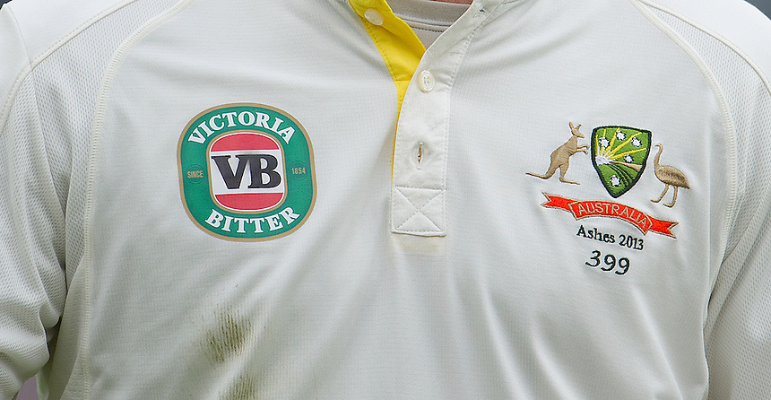 Detail on the shirt of Australia's Chris Rogers <br /> <br />  (Photo by Stephen White/CameraSport) <br /> <br /> International Cricket - First Investec Ashes Test Match - England v Australia - Day 1 - Wednesday 10th July 2013 - Trent Bridge - Nottingham<br /> <br /> &copy; CameraSport - 43 Linden Ave. Countesthorpe. Leicester. England. LE8 5PG - Tel: +44 (0) 116 277 4147 - admin@camerasport.com - www.camerasport.com