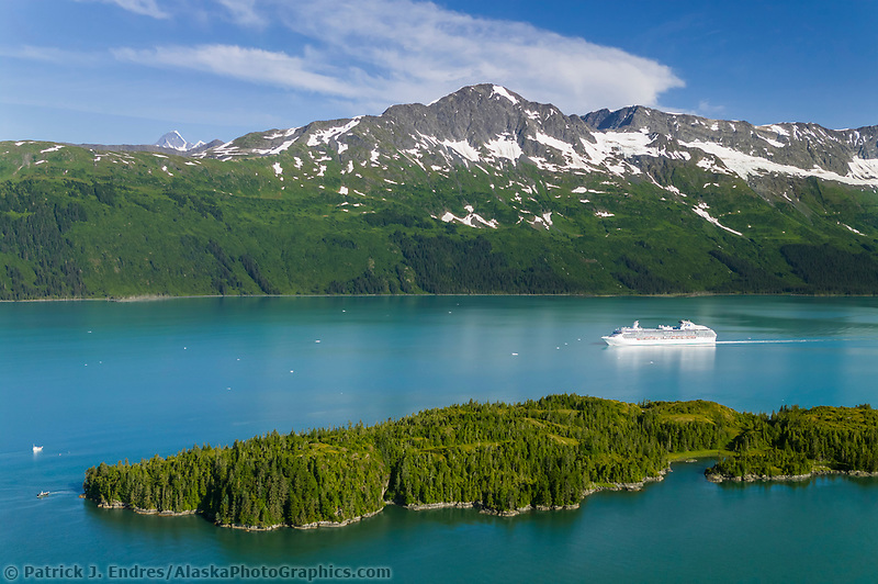 Aerial of the Coral Princess Cruise ship in College Fjord, Prince William Sound, Alaska