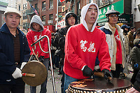 New York, NY - 26 January 2009 - Chinatown community marks the Year of the Ox with processions featuring drums, cymbals and lion dancers
