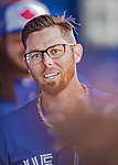 6 March 2019: Toronto Blue Jays infielder Eric Sogard in the dugout during a Spring Training game against the Philadelphia Phillies at Dunedin Stadium in Dunedin, Florida. The Blue Jays defeated the Phillies 9-7 in Grapefruit League play. Mandatory Credit: Ed Wolfstein Photo *** RAW (NEF) Image File Available ***