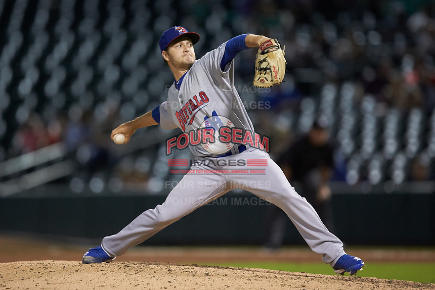Buffalo Bisons relief pitcher Ty Tice (44) in action against the Caballeros de Charlotte at BB&T BallPark on July 23, 2019 in Charlotte, North Carolina. The Bisons defeated the Caballeros 8-1. (Brian Westerholt/Four Seam Images)