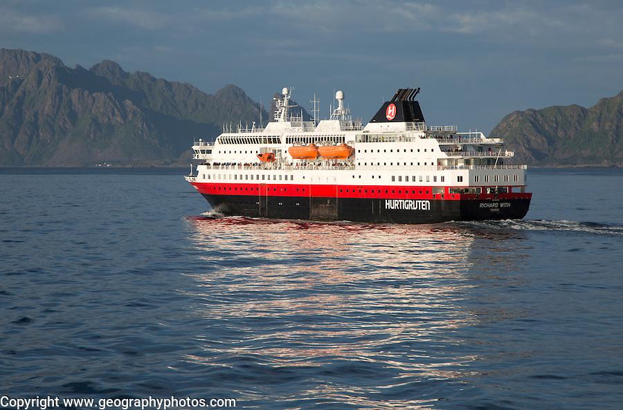 Hurtigruten Coastal Express ferry ship 'Richard With', Svolvaer, Lofoten Islands, Nordland, Norway