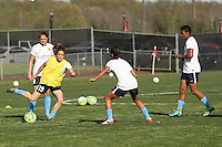 Piscataway, NJ, April 24, 2016.  Players from Sky Blue FC warm up with a small-sided game.  The Washington Spirit defeated Sky Blue FC 2-1 during a National Women's Soccer League (NWSL) match at Yurcak Field.