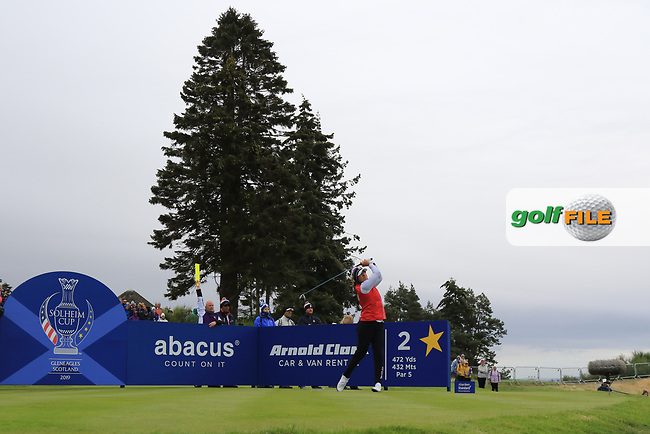 Marina Alex of Team USA on the 2nd tee during Day 2 Fourball at the Solheim Cup 2019, Gleneagles Golf CLub, Auchterarder, Perthshire, Scotland. 14/09/2019.<br /> Picture Thos Caffrey / Golffile.ie<br /> <br /> All photo usage must carry mandatory copyright credit (© Golffile | Thos Caffrey)