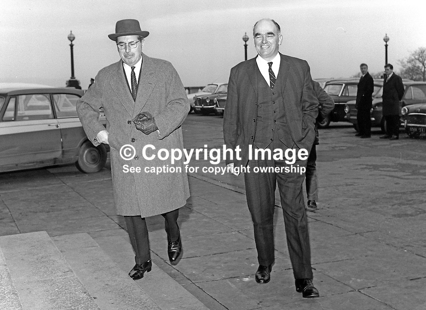 Arriving at Parliament Buildings, Stormont, are Major Ivan Neill, speaker, N Ireland Parliament, left, and Harry West, Fermanagh and S Tyrone MP who is currently without the party whip because of criticism of the current leader, Captain Terence O'Neill. 19700200070.<br /> <br /> Copyright Image from Victor Patterson,<br /> 54 Dorchester Park, <br /> Belfast, UK, BT9 6RJ<br /> <br /> t1: +44 28 9066 1296 (from Rep of Ireland 048 9066 1296)<br /> t2: +44 28 9002 2446 (from Rep of Ireland 048 9002 2446)<br /> <br /> m: +44 7802 353836<br /> <br /> e: victorpatterson@me.com<br /> www.victorpatterson.com<br /> <br /> Please see my Terms and Conditions of Use at www.victorpatterson.com. It is IMPORTANT that you familiarise yourself with them.<br /> <br /> Images used on the Internet must be visibly watermarked i.e. &copy; Victor Patterson<br /> within the body of the image and copyright metadata must not be deleted. Images <br /> used on the Internet have a size restriction of 4kbs and will be chargeable at current<br />  NUJ rates unless agreed otherwise.<br /> <br /> This image is only available for the use of the download recipient i.e. television station, newspaper, magazine, book publisher, etc, and must not be passed on to any third <br /> party. It is also downloaded on condition that each and every usage is notified within 7 days to victorpatterson@me.com<br /> <br /> The right of Victor Patterson to be identified as the author is asserted in accordance with The Copyright Designs And Patents Act (1988). All moral rights are asserted.
