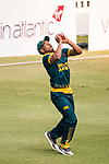 Jerry Nqolo of South Africa takes the catch and celebrates during Day 2 of Hong Kong Cricket World Sixes 2017 Cup final match between Pakistan vs South Africa at Kowloon Cricket Club on 29 October 2017, in Hong Kong, China. Photo by Vivek Prakash / Power Sport Images