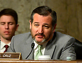 """United States Senator Ted Cruz (Republican of Texas) questions Jim Bridenstine, Administrator, National Aeronautics and Space Administration and Kevin O'Connell, Director, Office of Space Commerce, Department of Commerce, as they testify before the United States Senate Committee on Commerce, Science, and Transportation on """"The New Space Race: Ensuring U.S. Global Leadership on the Final Frontier"""" on Capitol Hill in Washington, DC on Wednesday, March 13, 2019.<br /> Credit: Ron Sachs / CNP"""