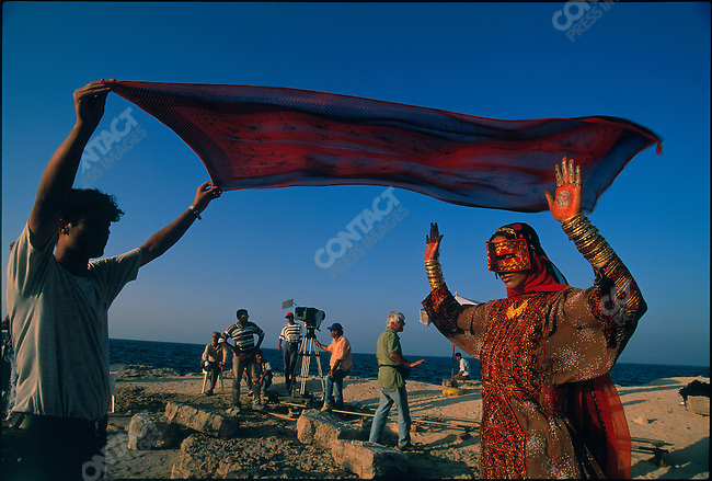 Iranian actress Mozhde Shamsai prepares for a role in her husband Bahram Beyzaie's movie. Kish Island, Iran. November 1998.