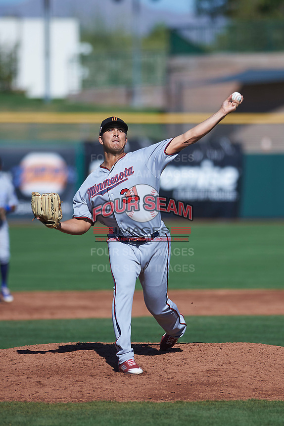 Surprise Saguaros relief pitcher Andrew Vasquez (31), of the Minnesota Twins organization, delivers a pitch to the plate during an Arizona Fall League game against the Scottsdale Scorpions on October 27, 2017 at Scottsdale Stadium in Scottsdale, Arizona. The Scorpions defeated the Saguaros 6-5. (Zachary Lucy/Four Seam Images)
