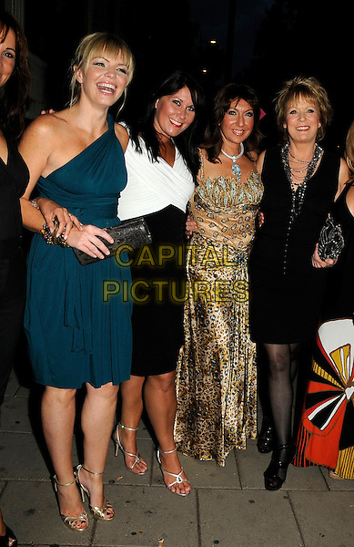 THORNTON KATE, ZOE TYLER, JANE McDONALD & SHERRIE HEWSON.The TV Quick & TV Choice Awards, Dorchester Hotel, London, England..September 7th, 2009.full length blue teal one shoulder dress white black gold leopard print necklaces loose women .CAP/CAN.©Can Nguyen/Capital Pictures.