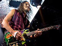 Guitarist Kirk Hammett performs with Metallica at the Scottrade Center in St. Louis, Mo. on November 17, 2008.