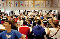 Switzerland. Canton Ticino. Tenero. Centro Sportivo Nazionale della Gioventù - Tenero (CST). Nationales Jugendsportzentrum Tenero. Lunch time at the canteen for the members of the various swiss teams. 31.05.11 © 2011 Didier Ruef
