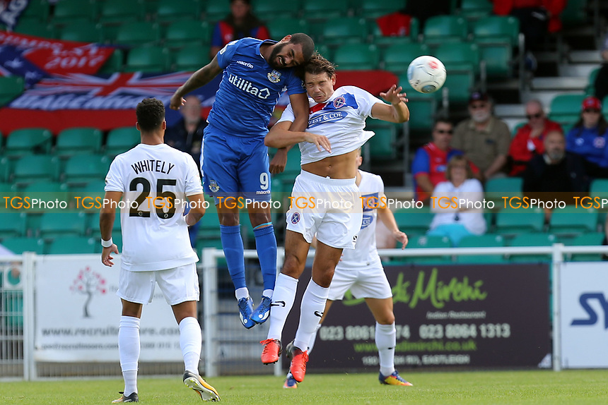 Craig Robson of Dagenham and Paul McCallum of Eastleigh during Eastleigh vs Dagenham & Redbridge, Vanarama National League Football at the Silverlake Stadium on 12th August 2017