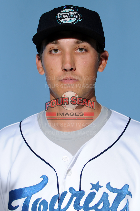 Asheville Tourists pitcher T.J. Oakes #39  at Story Point Media on April 2, 2013 in Asheville, North Carolina. (Tony Farlow/Four Seam Images).