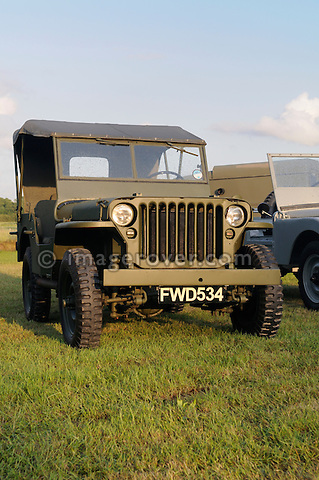 1942 Willys Jeep carrying the FWD 534 number plate that belonged to the Wilk's brothers Jeep from which the first Land Rover prototype was developed. Dunsfold Collection of Land Rovers Open Day 2011, Dunsfold, Surrey, UK. --- No releases available, but releases may not be necessary for certain uses. Automotive trademarks are the property of the trademark holder, authorization may be needed for some uses.