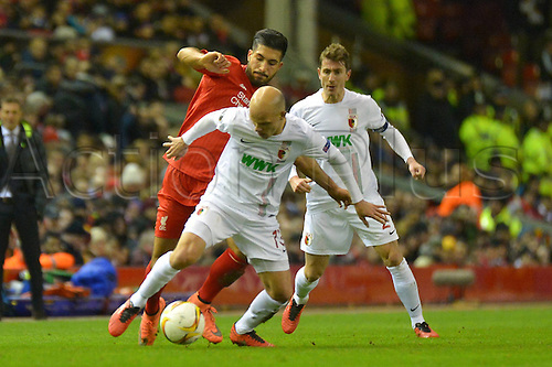 25.02.2016. Liverpool, England. UEFA Europa League game between Liverpool FC and Augsburg.  Tobias WERNER (FC Augsburg) challenged by Emre Can (FC Liverpool)