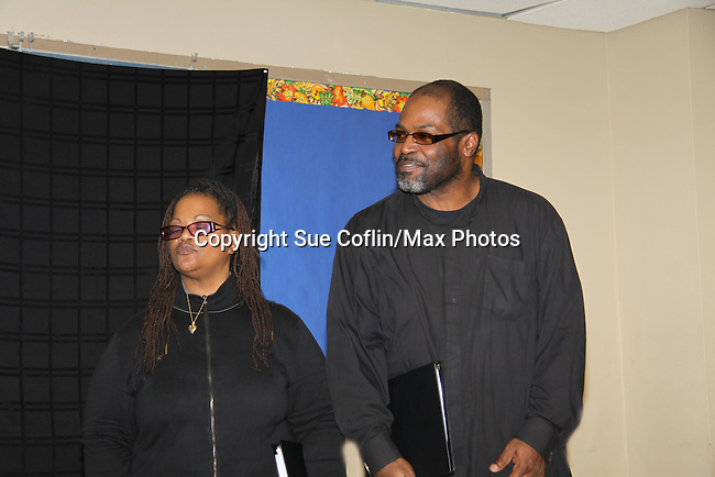 """KimDeon and Michael Davis are part of the cast of """"To Do List"""" - Evern Gillard-Randolph, playwright and founder of Grandparents Around the World, presents her new play """"To Do List"""" in a first play reading on December 7, 2013 at the Salvation Army Harlem Corps, New York, New York.  (Photo by Sue Coflin/Max Photos)"""