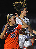 Cailey Welch #10 of North Shore, right, reacts after scoring her second goal of the match to give the Lady Vikings a 3-1 lead over Manhasset in the Nassau County varsity girls soccer Class A final at Cold Spring Harbor High School on Friday, Nov. 3, 2017. North Shore went on to win by a score of 4-2.