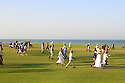 Spectators on 18th fairway, European Challenge Tour, National Bank of Oman Golf Classic 2014, Almouj Golf, The Wave, Muscat, Oman. (Picture Credit / Phil Inglis)
