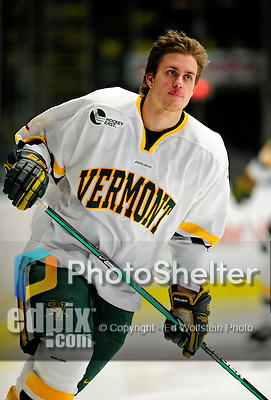12 December 2009: University of Vermont Catamount defenseman Drew MacKenzie, a Sophomore from New Canaan, CT, skates around his end prior to a game against the St. Lawrence University Saints at Gutterson Fieldhouse in Burlington, Vermont. The Catamounts shut out their former ECAC rival Saints 3-0. Mandatory Credit: Ed Wolfstein Photo