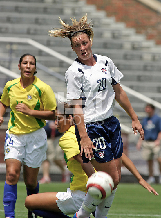 Abby Wambach.US Women's National Team vs Brazil at Legion Field in Birmingham, Alabama.