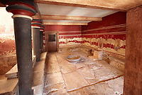 The so called Minoan 'Throne Room' or 'little throne room' Knossos Archaeological Site, Crete<br /> <br /> Reconstructed by Arthur Evans