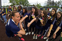 Sky Blue FC defender Christie Rampone (3) high fives fans before the match. Sky Blue FC defeated the Seattle Reign FC 2-0 during a National Women's Soccer League (NWSL) match at Yurcak Field in Piscataway, NJ, on May 11, 2013.