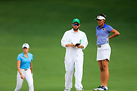 Sierra Brooks (USA) and Pimnipa Panthong (THA) on the 2nd during the final round at the Augusta National Womans Amateur 2019, Augusta National, Augusta, Georgia, USA. 06/04/2019.<br /> Picture Fran Caffrey / Golffile.ie<br /> <br /> All photo usage must carry mandatory copyright credit (© Golffile | Fran Caffrey)