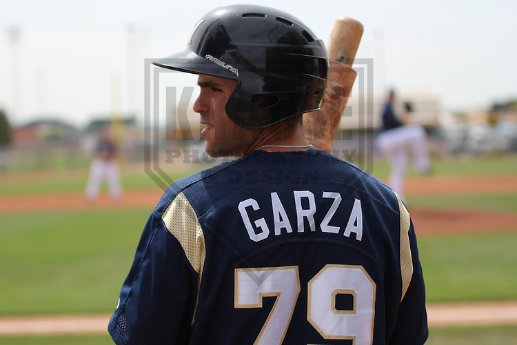 PEORIA - March 2013: Michael Garza (79)  of the Milwaukee Brewers during a Spring Training game against the San Diego Padres on March 20, 2013 at Peoria Sports Complex in Peoria, Arizona.  (Photo by Brad Krause). .