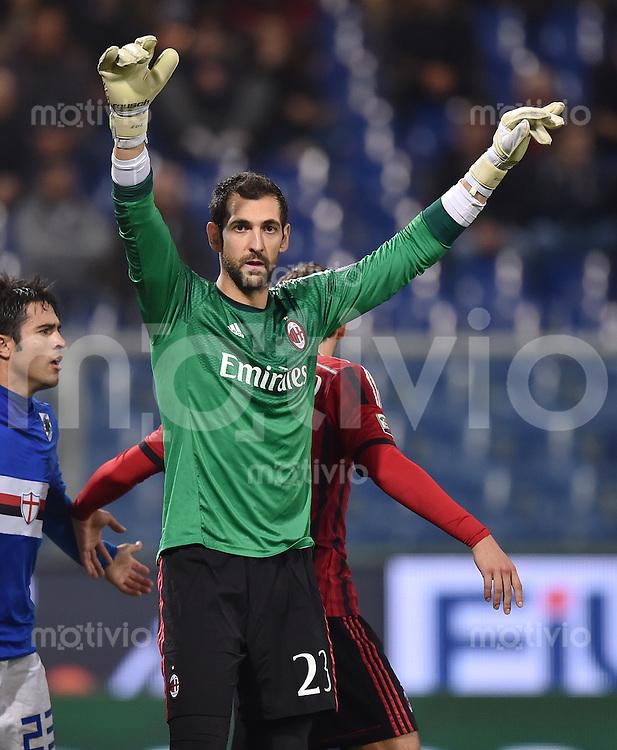 FUSSBALL INTERNATIONAL   SERIE A   SAISON  2014/2015   11. Spieltag Sampdoria Genua - AC Mailand                     08.11.2014 Torwart Diego Lopez (AC Mailand)