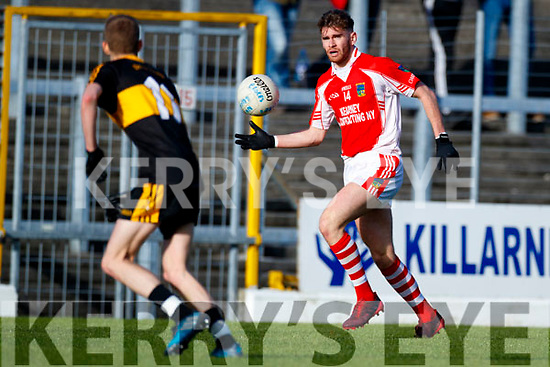 Gavin O'Shea Dr Crokes in action against Eanna Ó Conchúir West Kerry in the Kerry Senior Football Championship Semi Final at Fitzgerald Stadium on Saturday.
