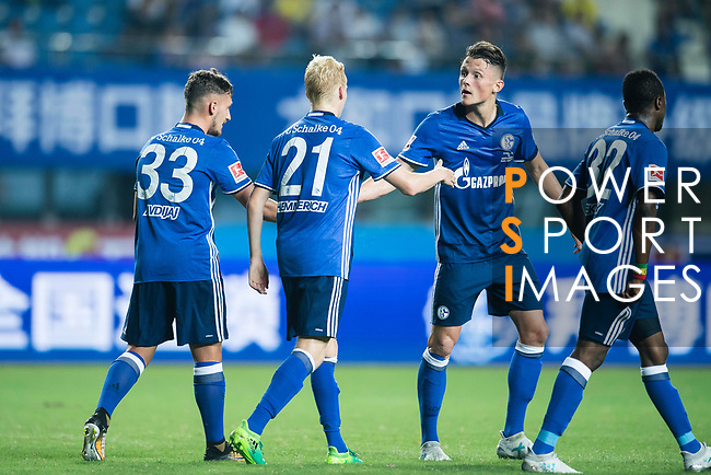 FC Schalke Midfielder Luke Hemmerich (C) celebrating his score with FC Schalke Forward Fabian Reese (R) during the Friendly Football Matches Summer 2017 between FC Schalke 04 Vs Besiktas Istanbul at Zhuhai Sport Center Stadium on July 19, 2017 in Zhuhai, China. Photo by Marcio Rodrigo Machado / Power Sport Images
